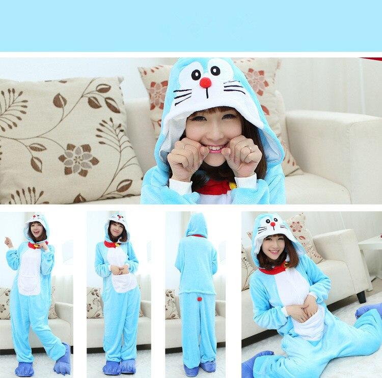 Adults Animal Doraemon Pajamas Sets Sleepwear Cosplay Zipper Onesie Hooded Women Men New Winter Unisex Cartoon Pajamas