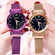 Fashion Starry Sky Women Watch Flat Glass Quartz Mesh With Magnetic Buckle Ladies Watch Dress Watch Party Decoration Gifts(China)