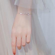 цена на Wholesale Silver Color Moonstone Star Sparkling Zircon Bracelets 925 Big Dipper Star Charm Bracelet For Girl Fashion jewelry