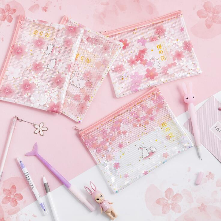 Kawaii Cherry Blossoms Grid Bling Bling A4 File Folder Desk Document Organizer Bag Office School Papers Storage Case Stationery