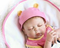 46CM Simulation Full Silicone Reborn Dolls Lifestyle with Closed Eyes Baby Comfort Helper Education Toy