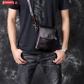 Retro first layer leather men's small bag original handmade genuine leather male shoulder Messenger bag mobile phone bags