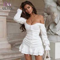 Mini vestido EvaQueen blanco con volantes Sexy para mujer, sin tirantes, con hombros descubiertos, vestido de fiesta elegante 2019, Vestidos de moda de verano
