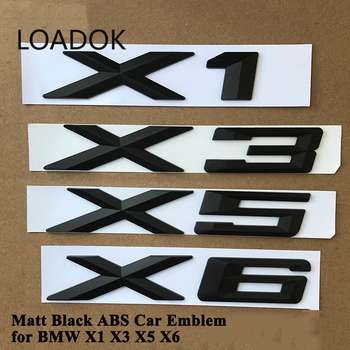 1pc ABS Matt Black Car Emblem Logo Badge Tail Trunk Sticker Accessories for BMW X1 E84 F48 X3 F25 G01 X5 E70 F15 X6 F16 E71 G06 image