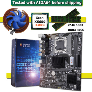 HUANANZHI X58 CPU LGA1366 Motherboard with Xeon Processor X5650 and Cooler RAM 8G(2*4G) REG ECC Computer Hardware DIY