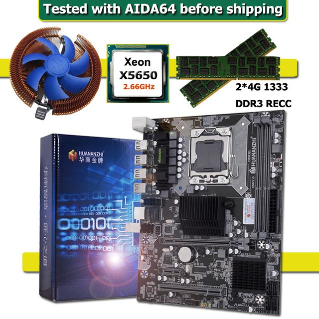 HUANANZHI X58 מעבד LGA1366 האם עם Xeon מעבד X5650 וקריר RAM 8G(2*4G) REG ECC מחשב חומרת DIY