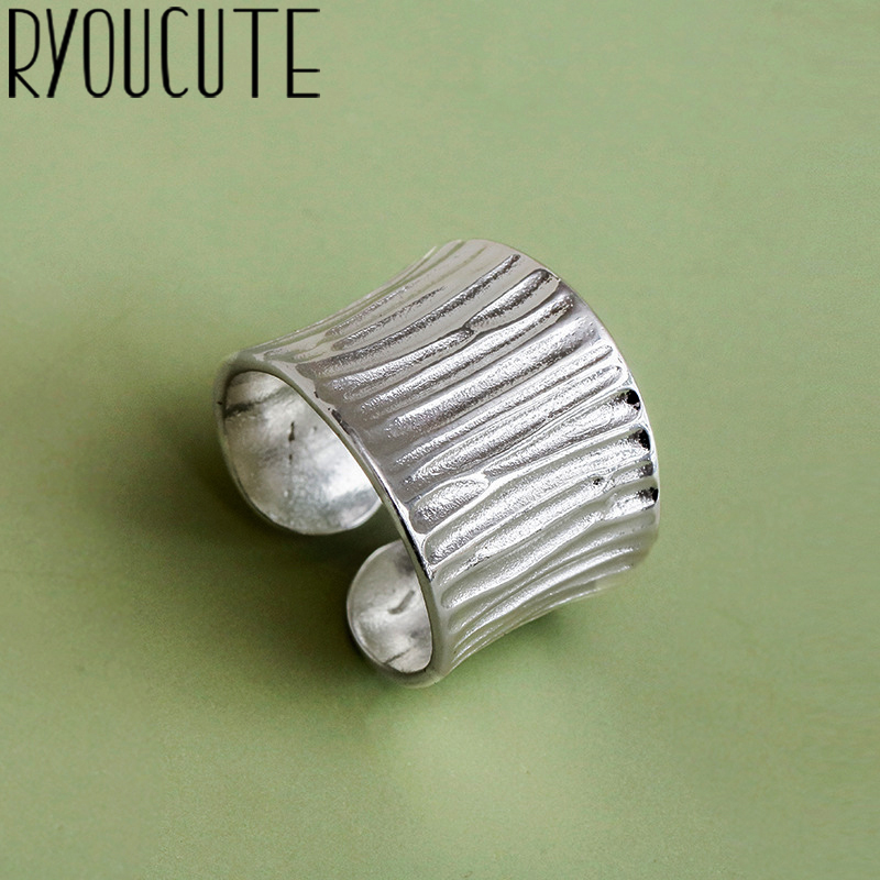 Vintage 925 Sterling Silver Irregular Big Rings For Women Adjustable Size Rings For Men Thai Silver Jewelry