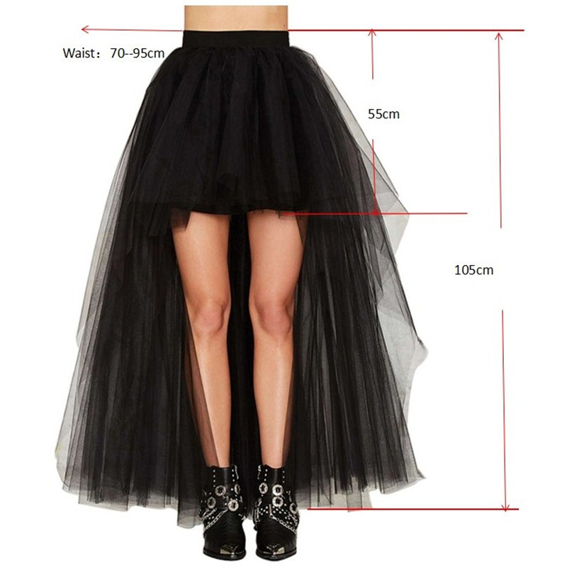 Fashion Sexy Women Skirt New Punk Sexy Mesh Irregular Front Short Back Long Tutu Puff Skirts Elastic Waist