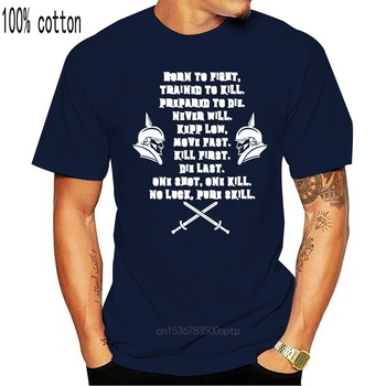 Funny Born To Fight Trained To Kill Prepaid To Die Tshirt Men Humor Men's T-Shirts Comics Streetwear image