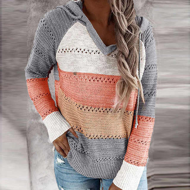 Autumn Women Patchwork Hooded Sweater Long Sleeve V-neck Knitted Sweater Casual Striped Pullover Jumpers 2020 New Female Hoodies 2