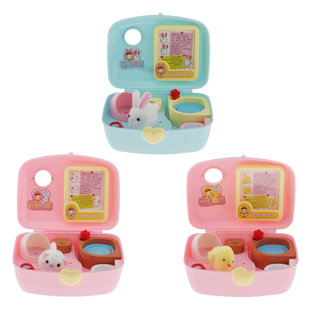 Pretend Play Pet House Play Set Toys, Cat/Rabbit/Chicken House Carrying Case Pretend Play Toys For Kids Boys And Girls