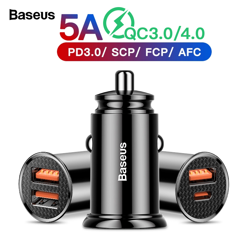 Baseus Quick Charge 4.0 3.0 USB Car Charger For iPhone Xiaomi Huawei SCP QC4.0 QC3.0 QC Type C PD Fast Car Mobile Phone Charger