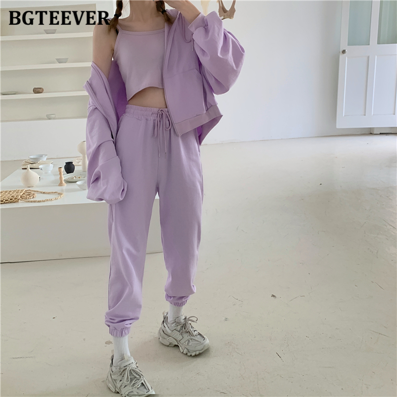 BGTEEVER Autumn Winter Tracksuits Women 3 Pieces Set Camisoles & Jacket & Sweatpant Casual Female Sweatshirt Outfits 2020