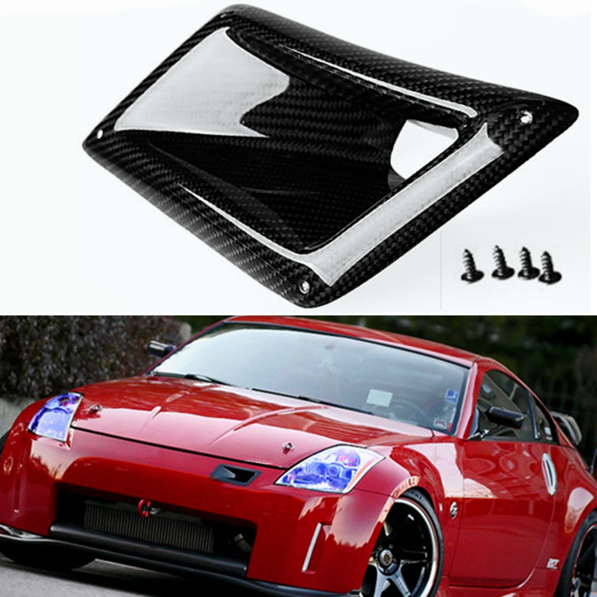 1x Left Side Rear Carbon Fiber Board Car Front Bumper Air Vent Intake Outlet Duct Cover Trim For Nissan 350Z Z33 2003-2009 image