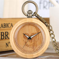 Open Face Pocket Fob Watches Wooden Bamboo Chain Watch Natural Handmade Pendant Clock Unique Mens Gift reloj de enfermera