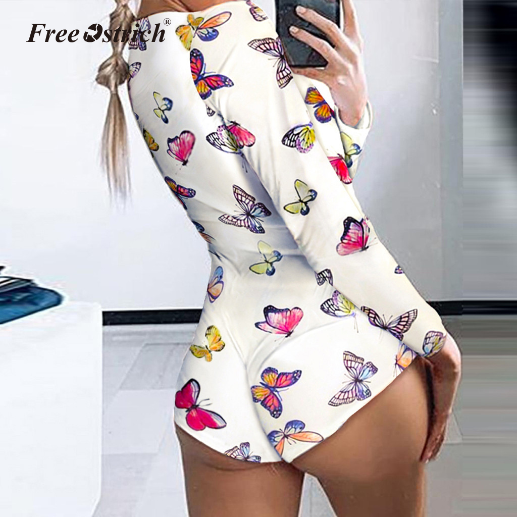 Free Ostrich Women's Sexy Deep V Neck Shorts Jumpsuit Long Sleeve Home Wear Bodysuit One Piece Pajama Overall Outfits
