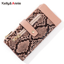 NEW Serpentine Leather Wallet Zipper Cell Phone Pocket Coin