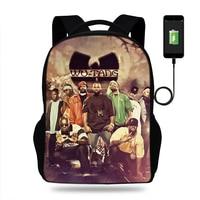17inch Wu Tang Killa Bees Hip Print Backpack Women USB Charge Backpacks For Teenager Boys School Bags Laptop Daily Backpacks