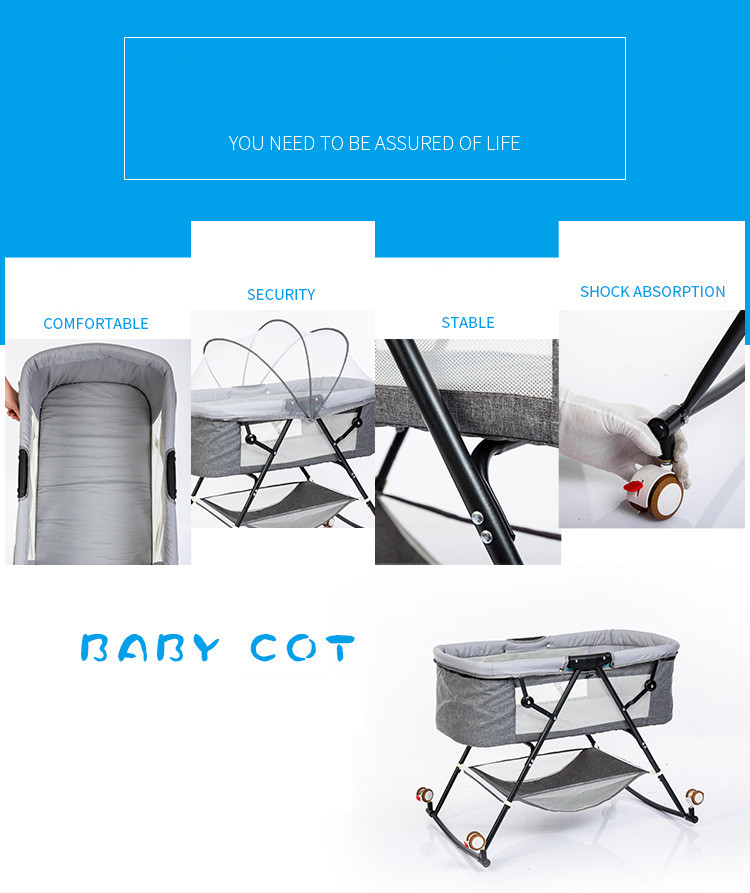Hec1423e0434b4fad99759a1f710911b8p Travel bed easy fold sleeping next Baby Nest Crib Portable Removable rocking chair Travel Bed For Children Infant Kids basket
