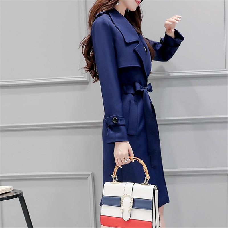 Navy 2020 Women's Spring Belt Coats Fashion Korea Slim Women's Autumn Windbreaker Trench Coat Para As Mulheres WXF118