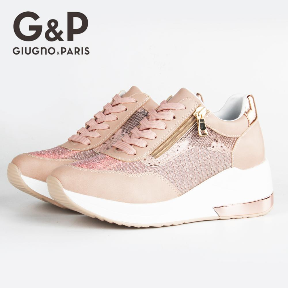 Brand Sneakers Women Breathable Shoes New Design 2020 Casual Platform Wedge Fashion Sneaker With Zipper Easy to Wear 8