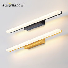 Led Wall Lamp Bathroom 120 100 80 60cm High quality Acrylic Metal Modern Light Gold Silver Black Bodys Sconce Wandlamp
