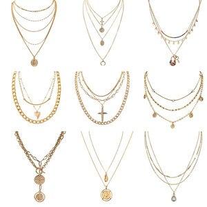 Fashion Women Multi Layer Pendant Choker Necklace Steampunk Padlock Heart Chain Cross Necklace Collier Couple Jewelry Gift