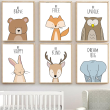 Deer Elephant Fox Bear Rabbit Owl Nursery Wall Art Canvas Painting Nordic Posters And Prints Pictures Baby Kids Room Decor