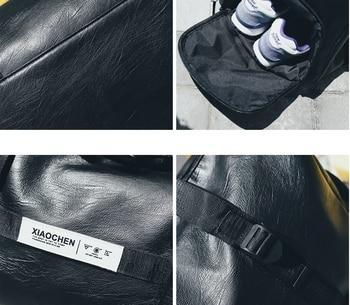 fashion Unisex Waterproof Leather Travel Bag High Capacity Casual Duffle Bag Men Women All-match Fitness Big Bags Sac D901