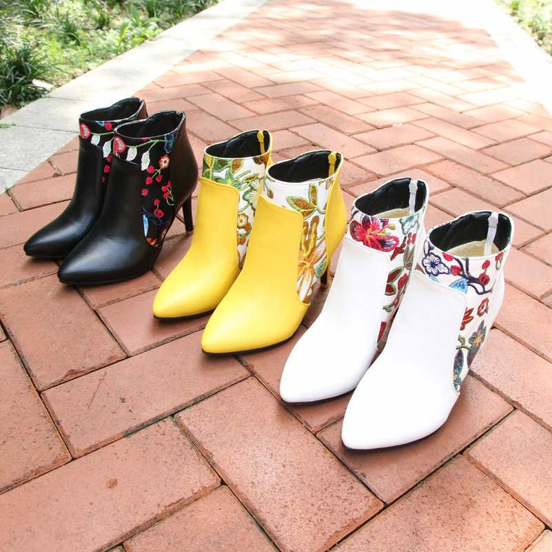 Meotina Schuhe Frauen Stiefel High Heel Stiefeletten Blume Spitz Stiletto Kurze Stiefel Zip Weibliche Schuhe Weiß Gelb 45 46