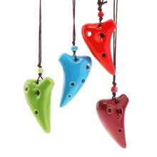 Окарина мини 6 отверстий Alto ToneC ожерелье окарина керамическая черная керамика флейта инструмент с подвесным канатом детская игрушка