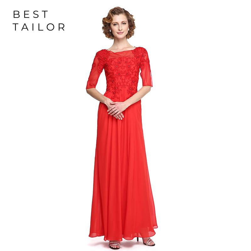 Long Red Mother Of The Bride Dresses For Weddings Floor Length Half Sleeves Lace Appliques Formal Wedding Guest Gowns Madrinha