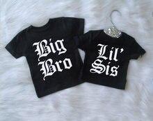 Camisas a juego de Big Bro Lil Sis, color negro, inglés, para Big Brother, Little Sister, envío directo