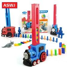 Домино набор игрушек-поезд ралли Электрический поезд модель с 128 шт красочные домино совместимы Legoes строительные блоки ребенок хорошие подарки