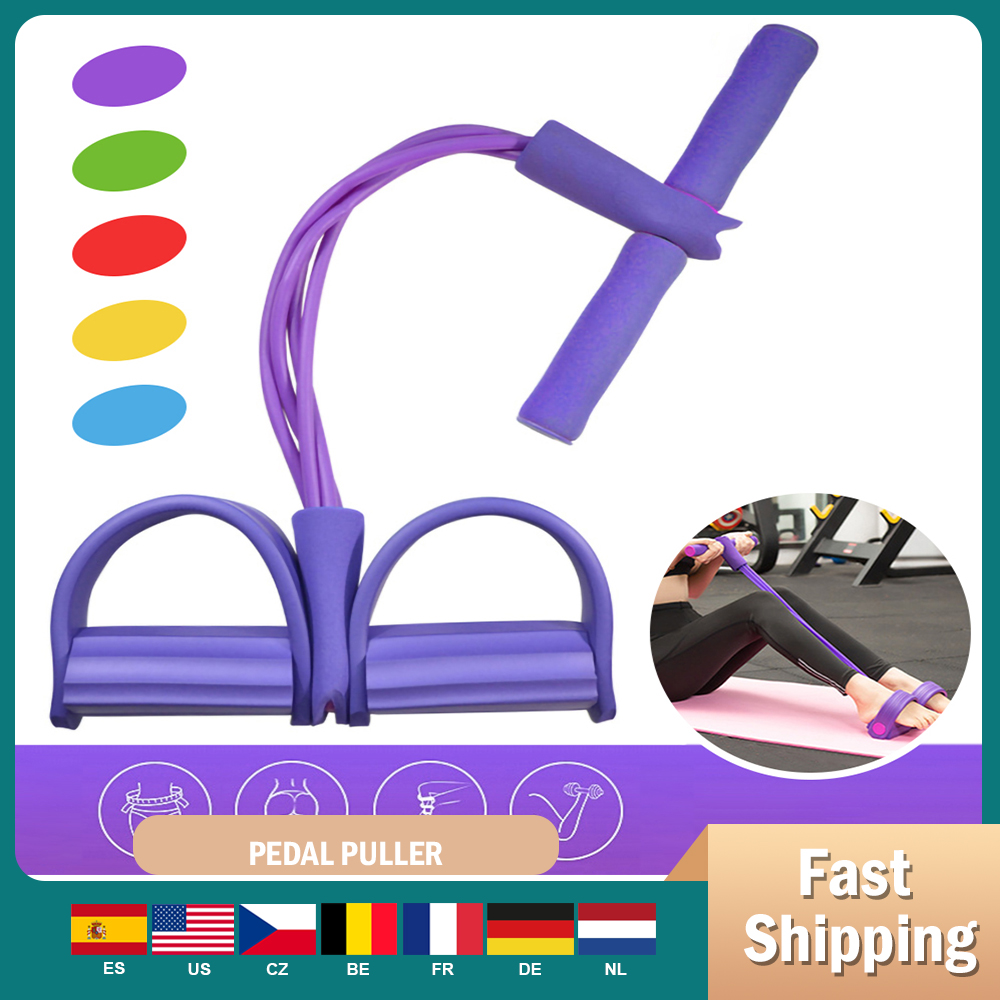 4 Tubes Latex Foot Elastic Pull Rope Expander Muscle Fitness Workout Pedal Sports Equipment Resistance Bands Multifunctional
