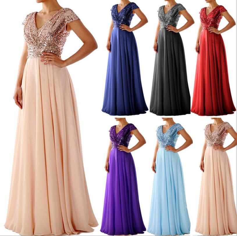 2019 été nouvelles femmes col en V Sequin en mousseline de soie couture Simple longue robe élégante mince longue robe de bal robes de soirée robe formelle