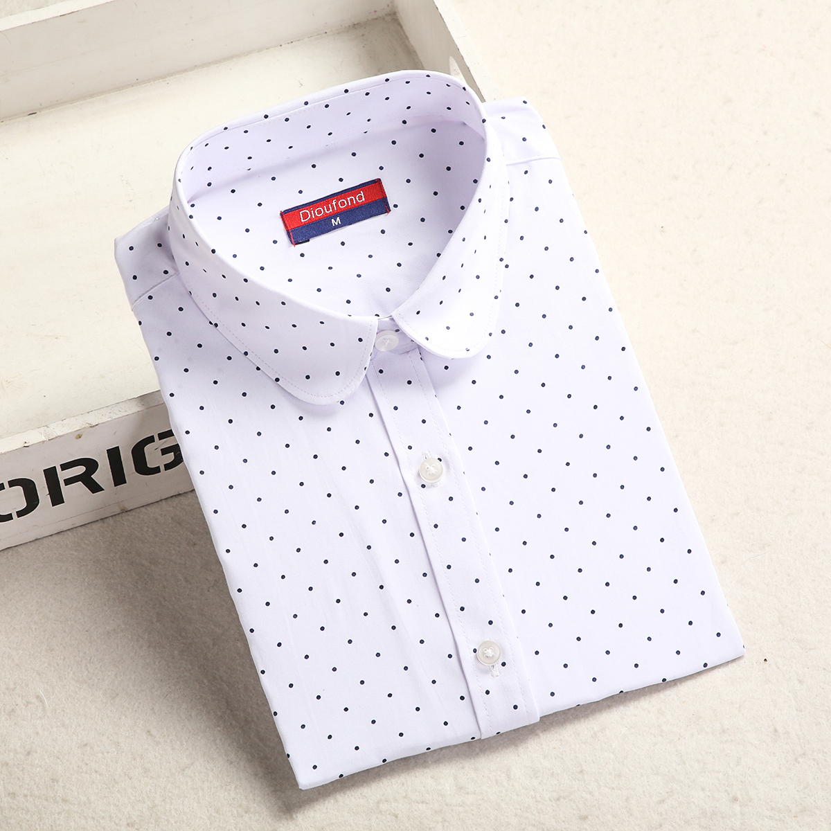 Dioufond, Хлопковая женская рубашка, блуза с длинным рукавом, красный горошек, Blusas Femininas, 5XL размера плюс, отложной воротник, женские модные топы - Цвет: Whitedot