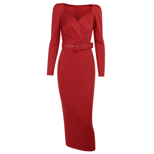 very elegant and sexy puff shoulder belted dress 6