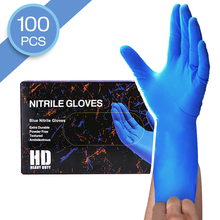 Disposable Gloves 100 Pcs 50 Pair Durable Nitrile Blue Color Gloves Hand Protection Anti Virus for Work House Clean Washing