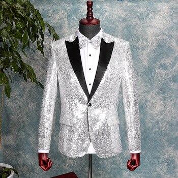 Glitter Silver Sequin Suit Jacket Men Slim Fit Mens Blazer Coat Lapel Collar Single Button Wedding Party Prom Stage Costume 3XL