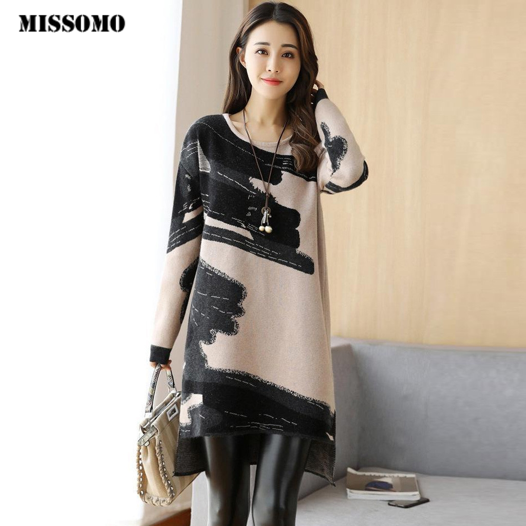 MISSOMO Elegant Sweater Dresses Women Vestidos 2019 Winter Dress Loose O-Neck Long Sleeve Party Dress Casual Kintted Dresses 10