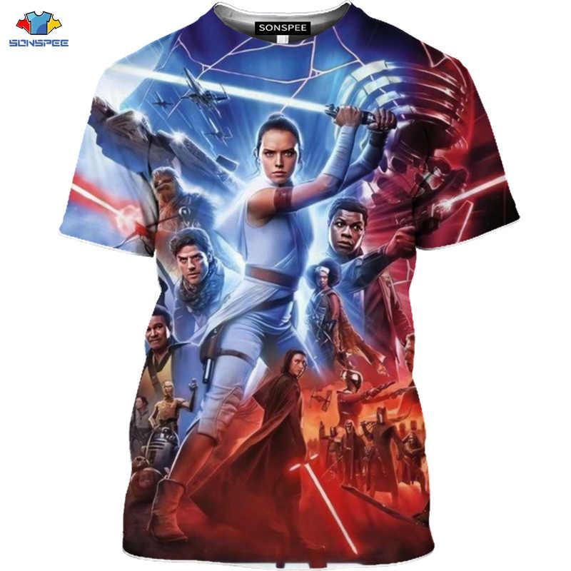 SONSPEE 3D Sf 映画スターウォーズ Tシャツ宇宙戦争スカイウォーカー Tシャツロボット男性シャツマスク宇宙船の台頭トップス