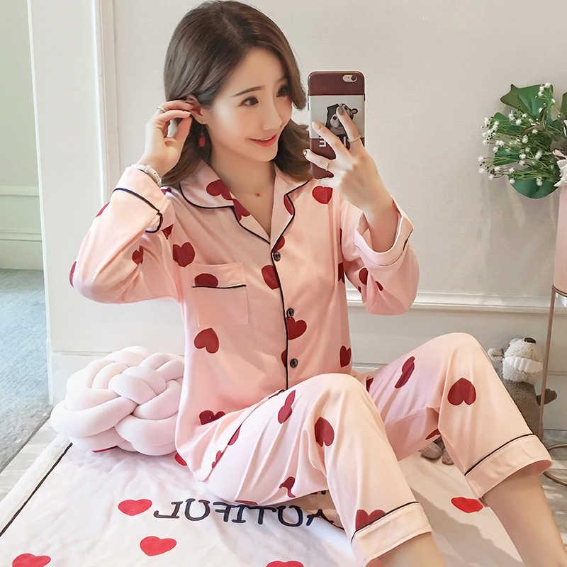 Conjunto de pijamas de manga larga de otoño 2019 para mujer, ropa de hogar con estampado encantador, ropa de ocio para mujer, conjunto de pijamas de pantalón largo, ropa de dormir