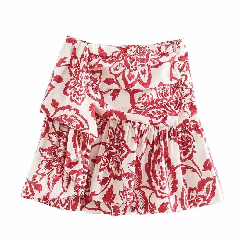 2020 Women Sweet Tropical Flower Print Pleated Mini Skirt Faldas Mujer Ladies Casual Slim Side Zipper Ruffles Skirts QUN561