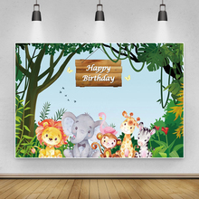 Laeacco Cartoon Jungle Party Lion Animals Birthday Custom Photographic Background Backdrop For Photo Studio Photophone Photocall