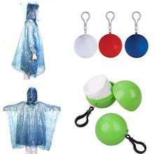 New Fashion Disposable Travel Emergency Raincoat Poncho Rainwear Rain Jacket W/ Keyring Ball(China)