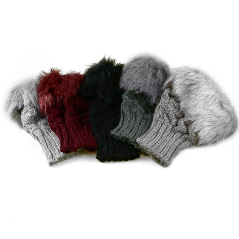 2019 Fashion Winter Women Gloves Plush Faux Fur Knitting Wool Keep Warm Short Mitten Fingerless Lady Girl Finger Glove IE998