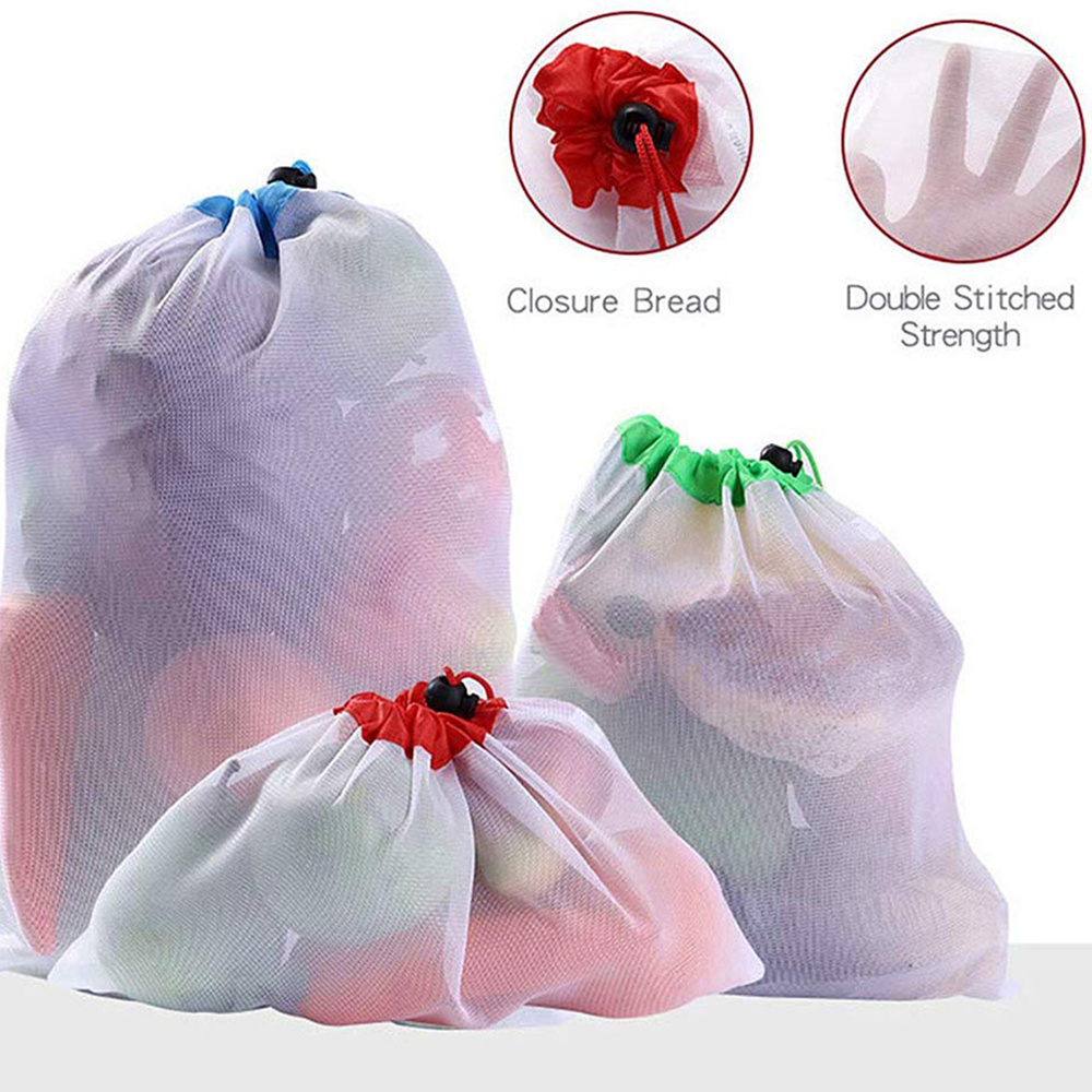 1PC Reusable Mesh Produce Bags Washable Eco Friendly Lightweight Bags For Grocery Shopping Storage Fruit Vegetable Net Bag