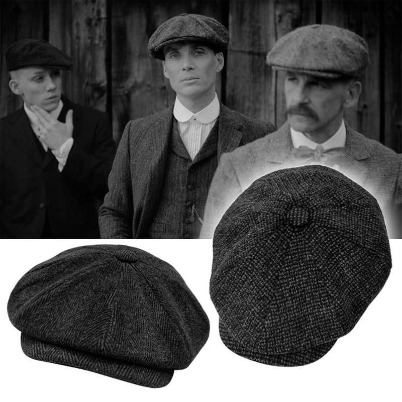 Tommy Shelby Men Newsboy Hats Autumn Vintage Herringbone Octagon Cap Women Casual Stripe Berets Gatsby Flat Hat BLM73