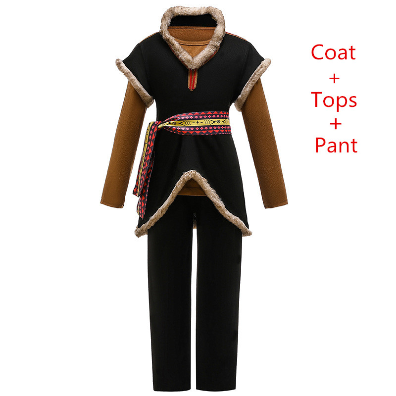 Snow Queen Kristoff Cosplay Costumes Kids Carnival Party Three-piece Outfit Fancy Dress Up Children Clothing Movie Boys Sets